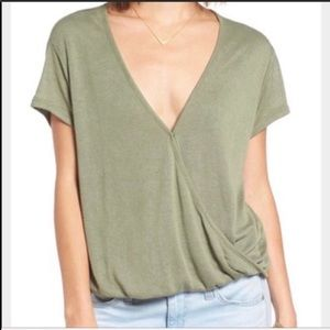 Free People Green Faux Wrap Top Size S